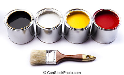 coloridos, latas, &, tintas