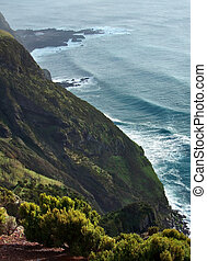 coastal scenery at the Azores - high angle cliffy coastal...