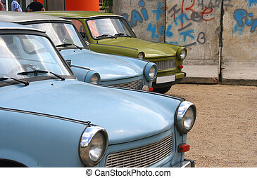 East-German cars at the Berlin Wall - East-German cars...