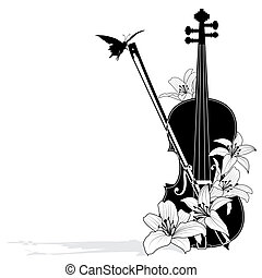 Vector floral musical composition with violin in black and...