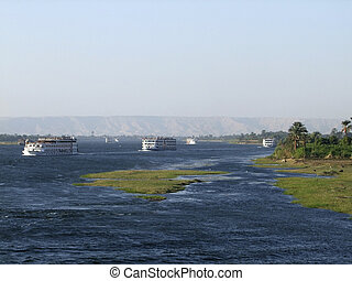 passenger ships on the Nile - travel and vacation theme with...