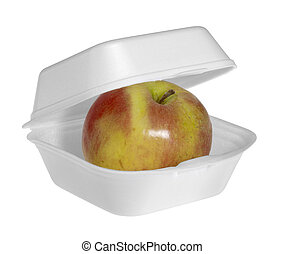 fastfood apple - apple in a white fastfood box isolated on...