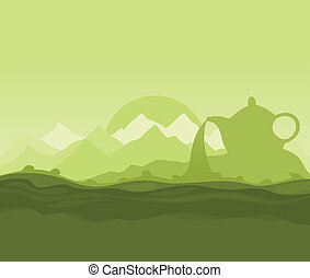 Tea landscape - Landscape on a theme green tea A vector...