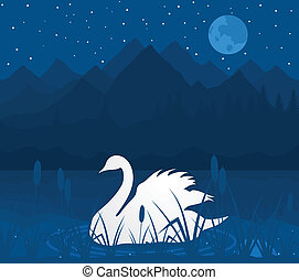 White swan on lake in mountains. A vector illustration