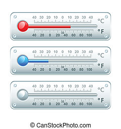 Thermometers - Horizontal thermometers with Celsius and...