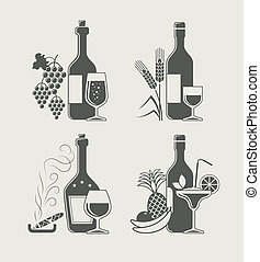 alcoholic drinks set of icon vector illustration
