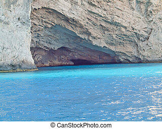 blue caves in Zanter island, Greece - amazing blue caves in...