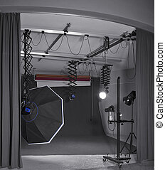 photo studio - detail of a photo studio including camera and...