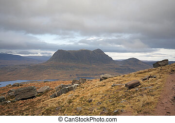 dreamlike landscape near Stac Pollaidh - colorful panoramic...