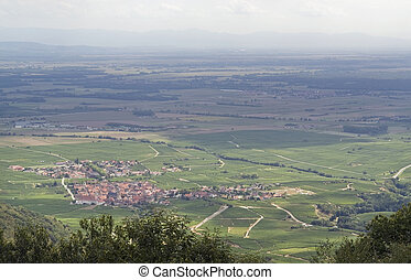 aerial view near Haut-Koenigsbourg Castle in France - aerial...