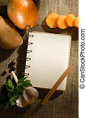 Vegetables and notepad