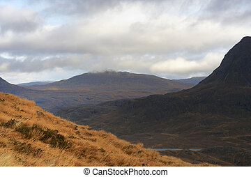 landscape near Stac Pollaidh at evening time - panoramic...