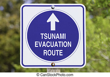 Tsunami roadsign near Pescadero, California