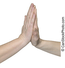 high five hands - studio photography of two hands giving...