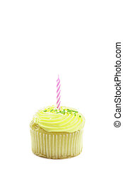 cupcake, isolated on white with a decorative candle in it