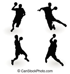 handball player black vector of art illustration