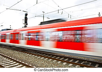 Train leaves the station with speed