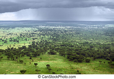 Queen Elizabeth National Park aerial view - stormy aerial...