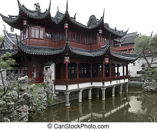 Yuyuan Garden in Shanghai - detail of the historic Yuyuan...
