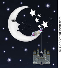 Romantic moon - Dreamland series - romantic crescent moon
