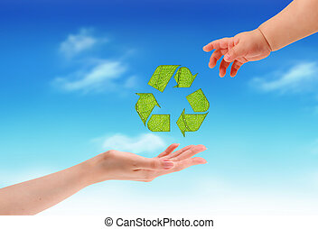 hands and conceptual recycling symbol