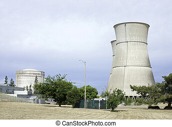 Nuclear station - Cooling tower and reactor building of...