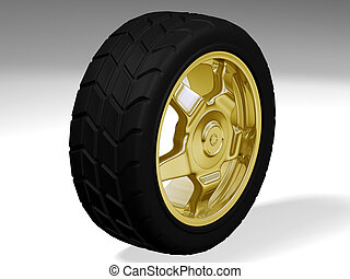 one big golden rim with a big tyre