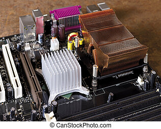 main board detail - detail of a motherboard in front of...