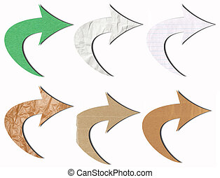 arrow tag recycled paper craft stick on white background