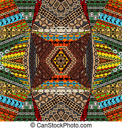 Collage of samples with ethnic motifs