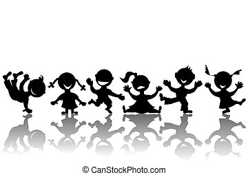 Stylized children silhouettes