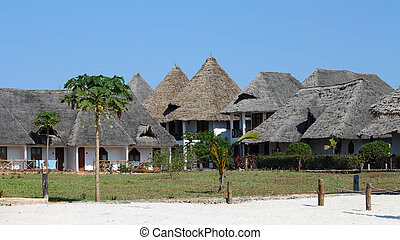 Bungalow resort in Zanzibar on a sunny day