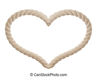 rope in the shape of heart isolated