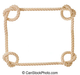rope in the shape of heart isolated - frame made from rope...
