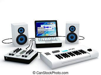 maison, enregistrement, studio, équipement