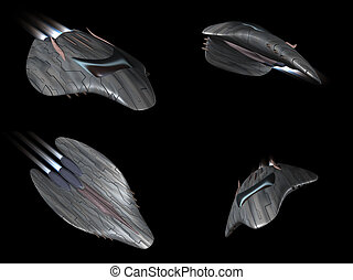 Four views of a powerful spaceship very streamlined in...