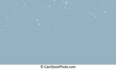 Snow falling with left wind with a grey blue background
