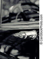 Classic car detail , shallow DOF black and white photo