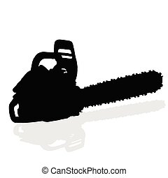 chainsaw black vector silhouette on white background