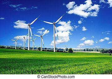 viento, turbinas, paisaje
