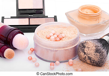 powder with cosmetic brush