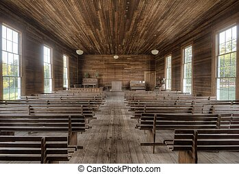 Old Chapel Interior - VIntage interior of an authentic early...