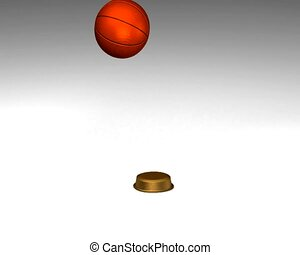Bouncing basketball which become golden trophy