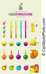 Infographic design elements. Liquid measure - Vector...