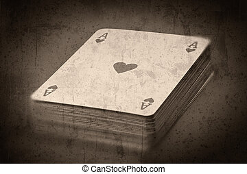 Cards - Grunge textured retro style background - Deck of...