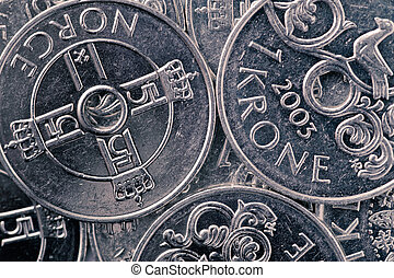 Norwegian krone background - Norwegian krone, close-up shot,...