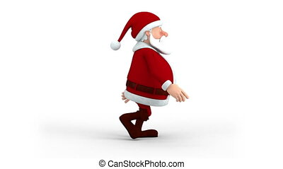 Santa Claus walking - Cartoon Santa Claus walking on the...