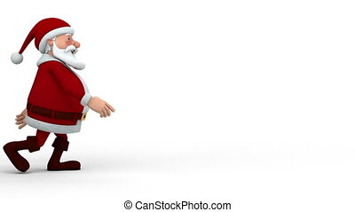 Santa Claus walking - Cartoon Santa Claus walking across the...