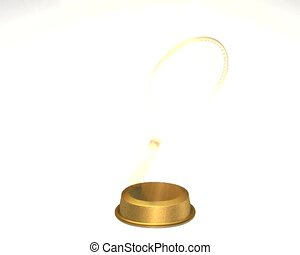 Rotating golden tennis trophy with appearence effect