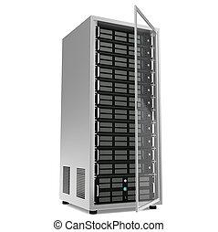 Server rack, half open door.